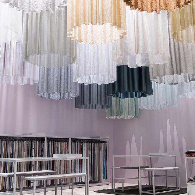 Rediscovering curtains. Draped on a circular rail, our new curtains are stealing the show at Stockholm Furniture Stand this year.