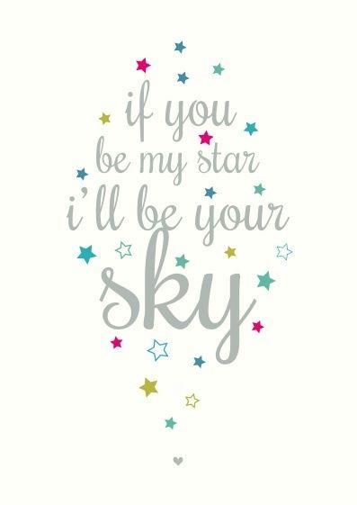 Ansichtkaart met sterretjes en tekst If you be my star i'll be your sky. sterren quote tekst kaart