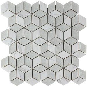Tessellation Geometric Glass Stone Blend Mosaic Tile In Ice Gray Tile Backsplash Mosaic Tiles Geometric Tiles