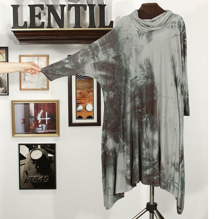 industrial strength: long-sleeved hand dyed dress in grays and blacks