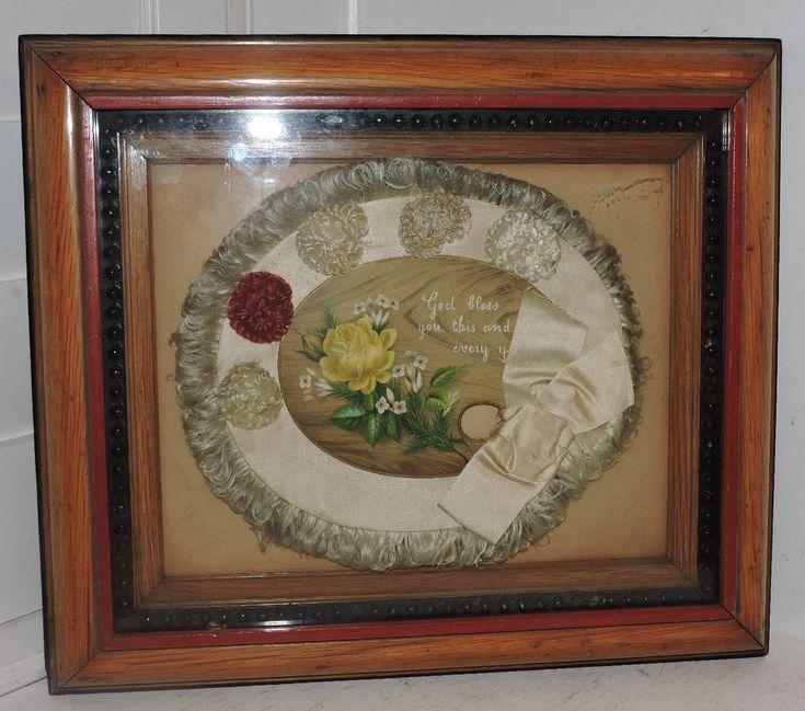 Antique Victorian Shadowbox Oak Picture Frame W Rose Silk