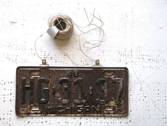 license plate or tag -- michigan -- wall hanging -- collectible -- for him -- industrial decor