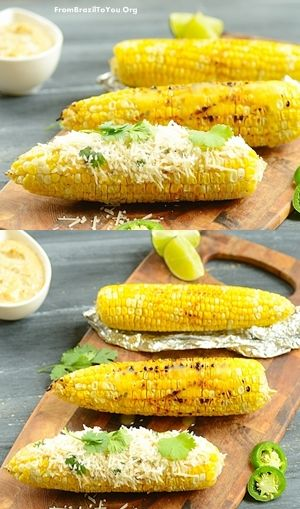 Grilled Corn on the Cob with Jalapeno-Lime Aioli and Parmesan Cheese -- plus TIPS for how to grill corn with aluminum foil (indoors and outdoors).