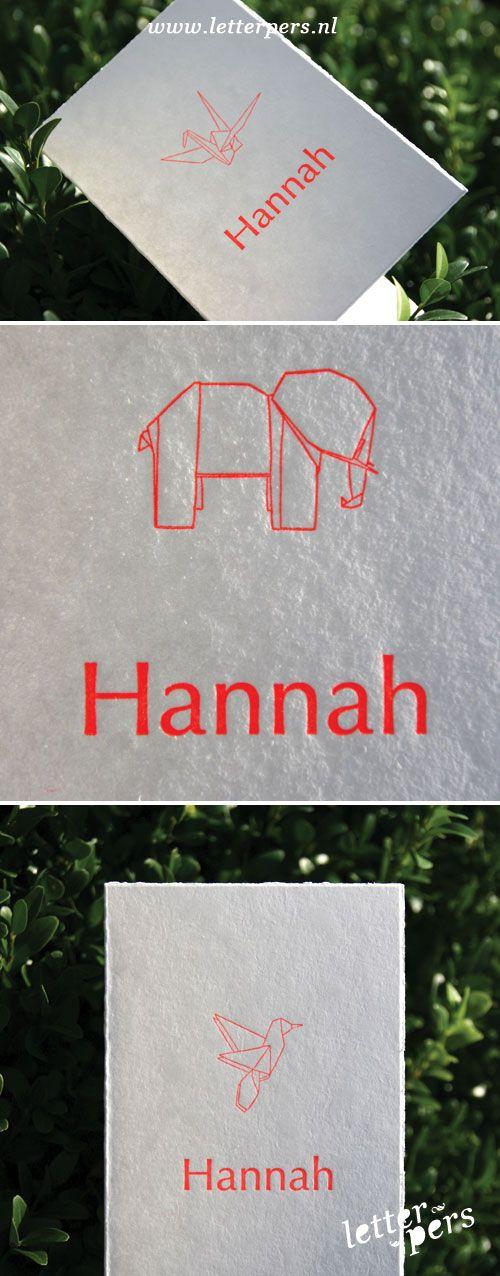 letterpers_letterpress_geboortekaartje_hanna_origami_beestjes_fluor_oranje_roze_k
