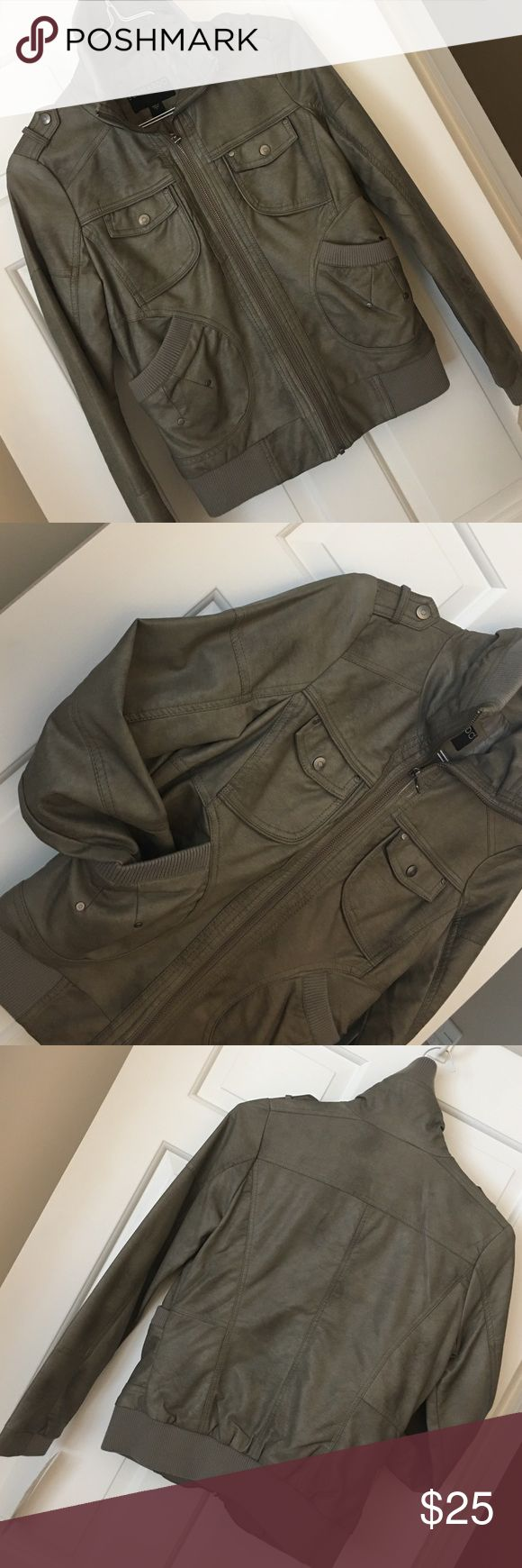 Vegan leather bomber jacket NWT vegan 'leather' bomber jacket. Knit robbed trim. Cute detail. Color is a mix of olive green & grey. Jackets & Coats Utility Jackets