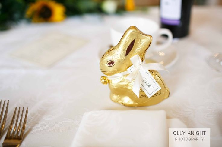 Lindt Bunnies as wedding favours at Keith & Sarah's Wedding at Old Kent Barn