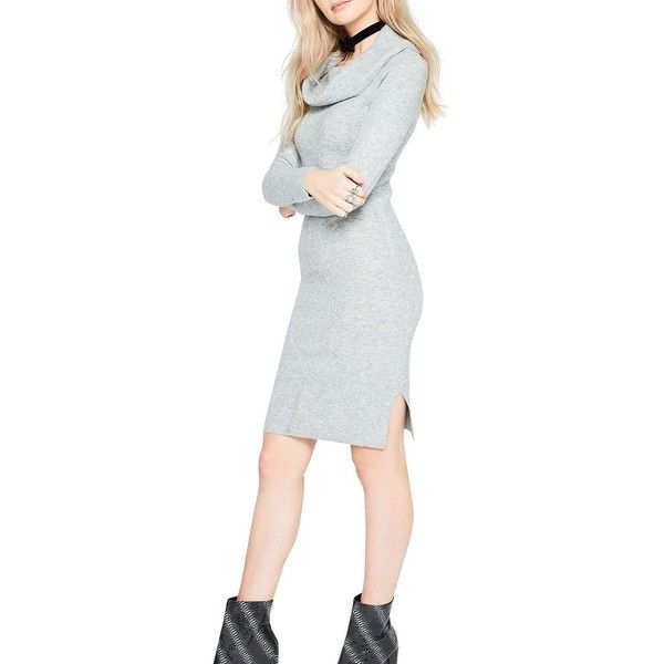 Miss Selfridge Fold-Over Heathered Dress ($75) ❤ liked on Polyvore featuring dresses, grey, gray dress, gray long sleeve dress, long sleeve dress, longsleeve dress and grey long sleeve dress