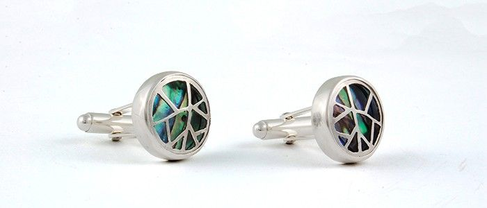 Cufflinks - sterling silver, paua shell