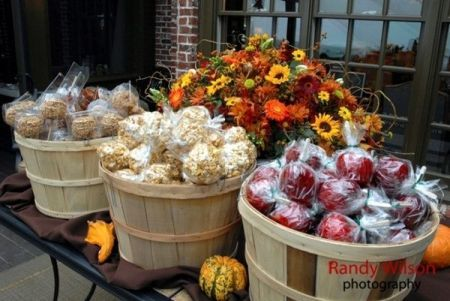 Country casual candy apple favor display.  See more candy apple wedding favors and party ideas at www.one-stop-party-ideas.com
