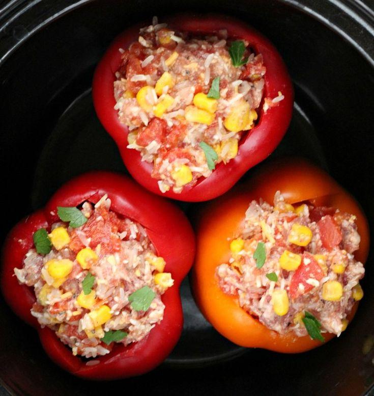 Southwestern Slow Cooker Stuffed Peppers
