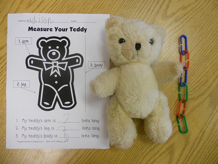 Teddy bear measurement - great intro to nonstandard measurement and applied Math!