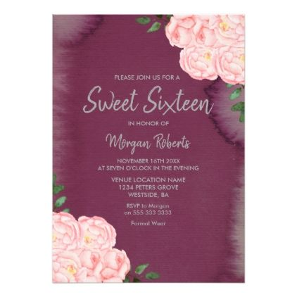 248 best sweet 16 invitations and matching sets images on pinterest pink rose burgundy paint splash sweet 16 invite sweet 16 invitationsbachelorette party invitationsbirthday stopboris Images