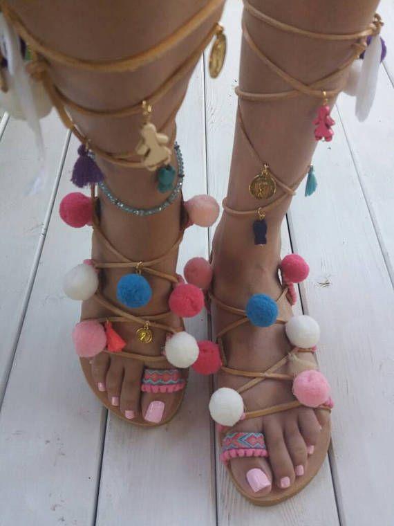 Bohemian sandals Amarillis  Greek leather sandals