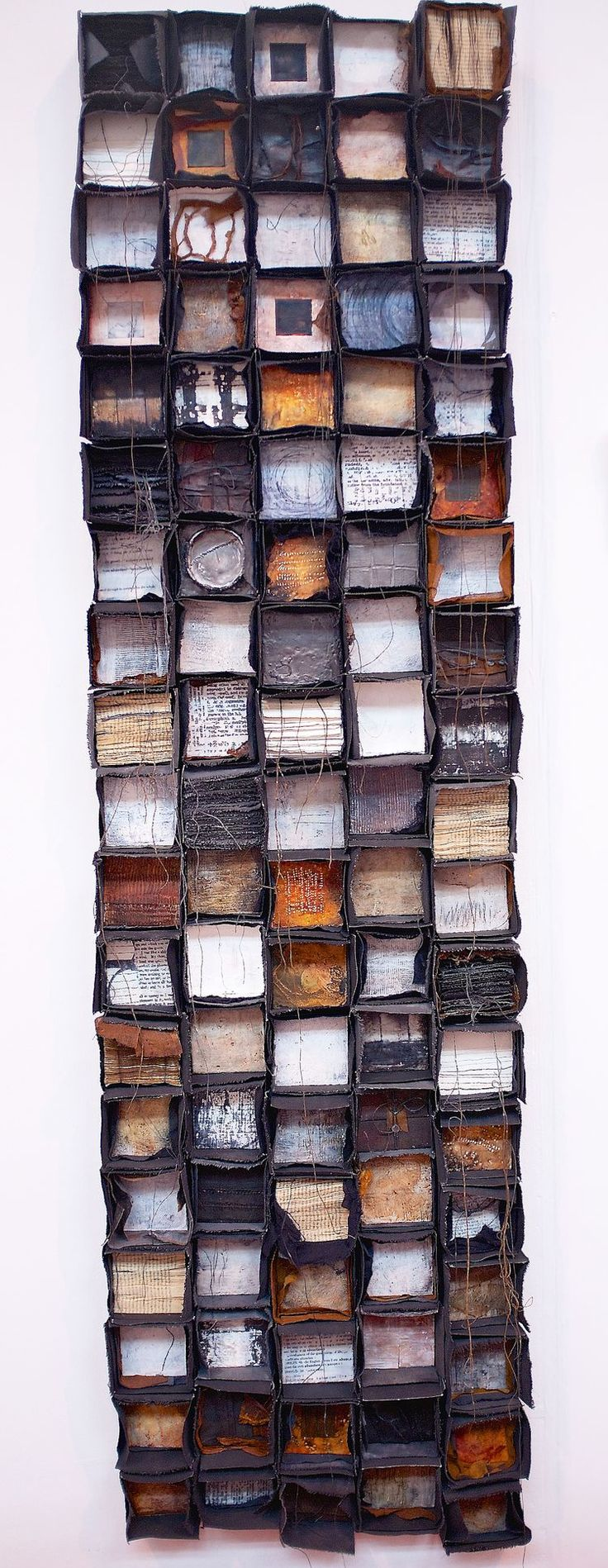 "http://www.marymorris.co.uk/#/profusion/ Mary Morris ""Profusion"" Mary uses mixed media to create a 3-dimensional grid that exists on it's own. The different textures and elements are very visually stimulating."
