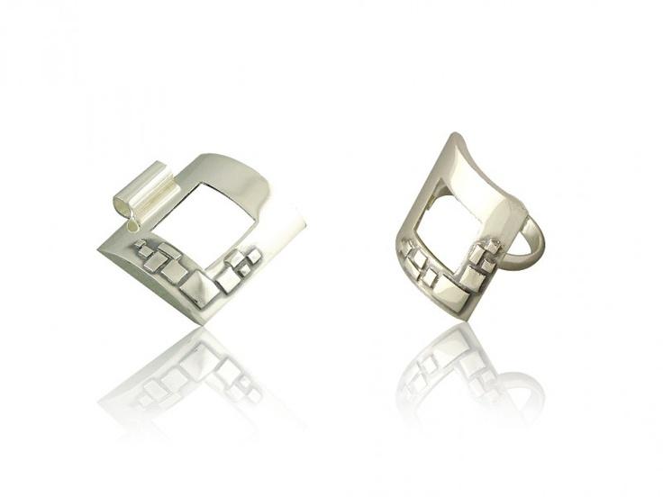 Silver jewellery set - ring + pendant
