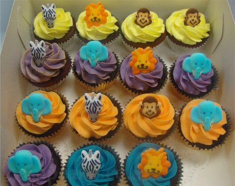 Animal cupcakes - zebra, elephant, monkey, lion