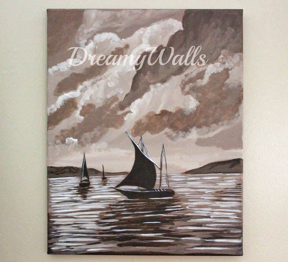 Sailboat painting on canvas sailboat art by ArtByChristinaDudycz