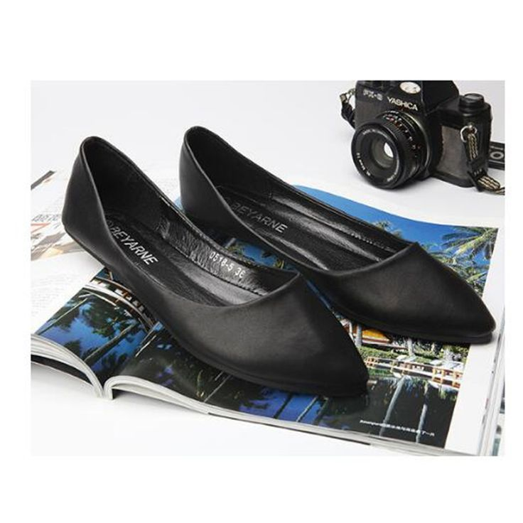 Discount 2016 Spring And Autumn Women Shoes Genuine Leather Flat Heel Casual Slip on Pointed Toe Shoes. Click visit to check price