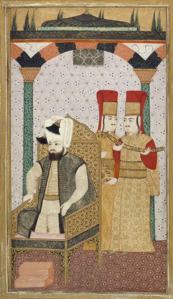 Ottoman: 1600.  Sultan Mehmet III (reigned 1595-1603) Enthroned, Attended by Two Janissaries | LACMA Collections