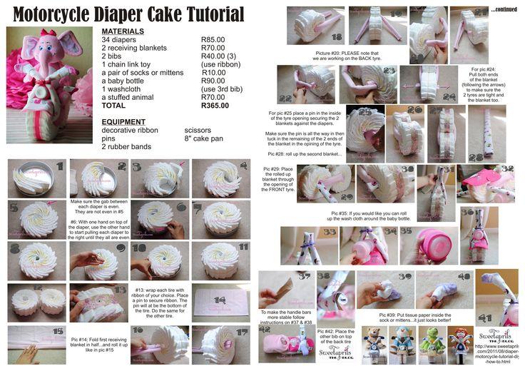 Motorcycle Diaper Cake - Tutorial printout - taken from Sweet Aprils Blog