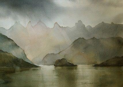 Kunstneren i Bergen: Akvarell fra Romsdal