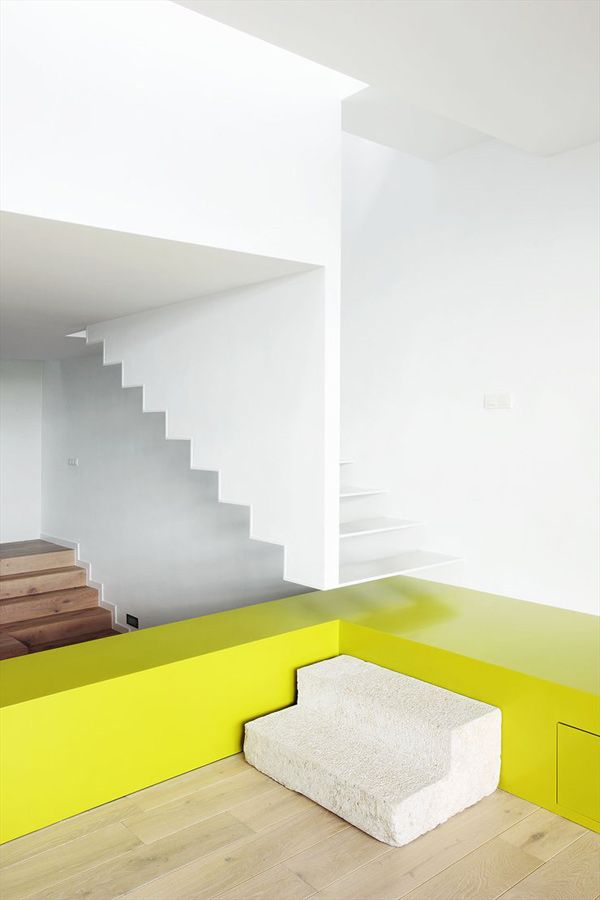 Cool color-blocking technique defines and distinguishes this modern interior  by 05 AM Arquitectura