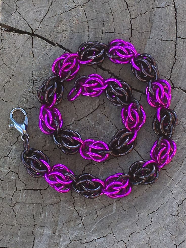 Violet and black Sweetpea weave chainmaille bracelet