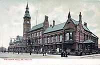 St Helens, Merseyside - A tinctured period postcard of the new (and current) Town Hall as it would have appeared in 1876.