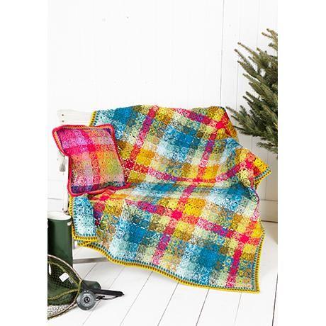 Stylecraft Tarten Blanket Kit Pattern 9255 2 a 100g balls of the following  Khaki, Teal, Bright Pink, Gold, Sage, Duck Egg, Empire, Pistachio, Mustard.  Blanket Size approx. 132cm x 132cm