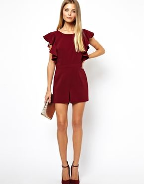 Image 4 of ASOS Playsuit with Ruffle and Low Back