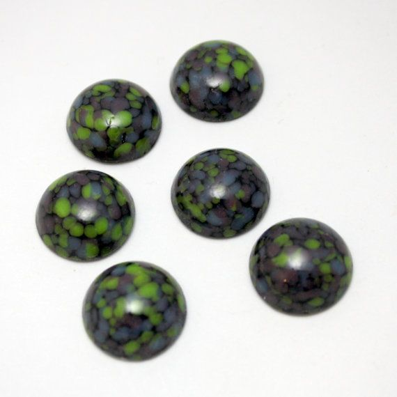 6 Vintage Round Black with Green and Purple by ThisPurplePoppy