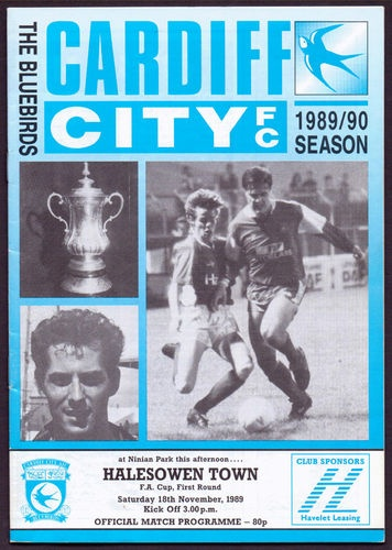 Cardiff City vs Halesowen Town  FA Cup First Round Saturday 18th November 1989