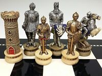 Medieval Times Crusades Gold and Silver Armored Warrior Knight Chess Men Set -