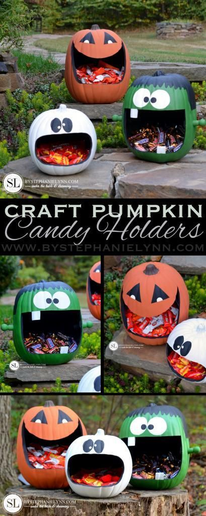How to Make Craft Pumpkin Candy Holders - an easy faux #Pumpkin craft - @michaelsstores #michaelsmakers #trickyourpumpkin