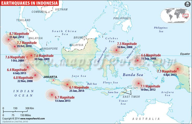 Indonesia Earthquake History Map