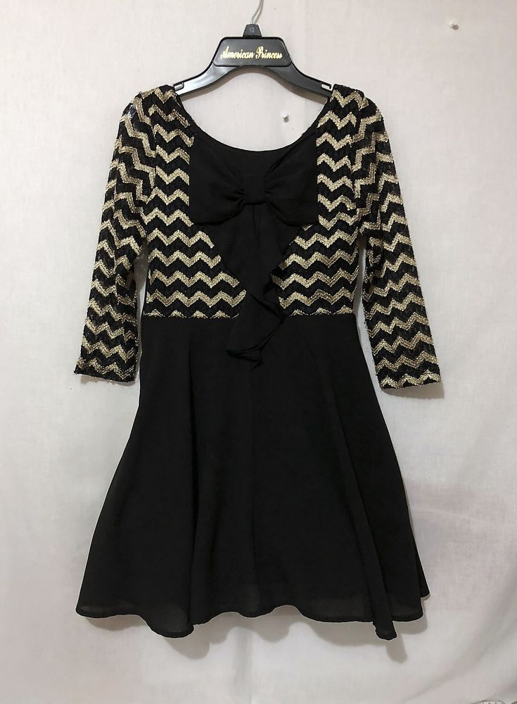 b45add646 Details about Girls size 12 Sequin Hearts black gold lined dress ...