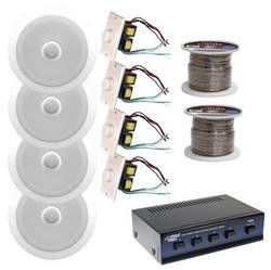 New Pyle 250 Watts Home Office Or Restaurant Complete Speakers System With In Wall