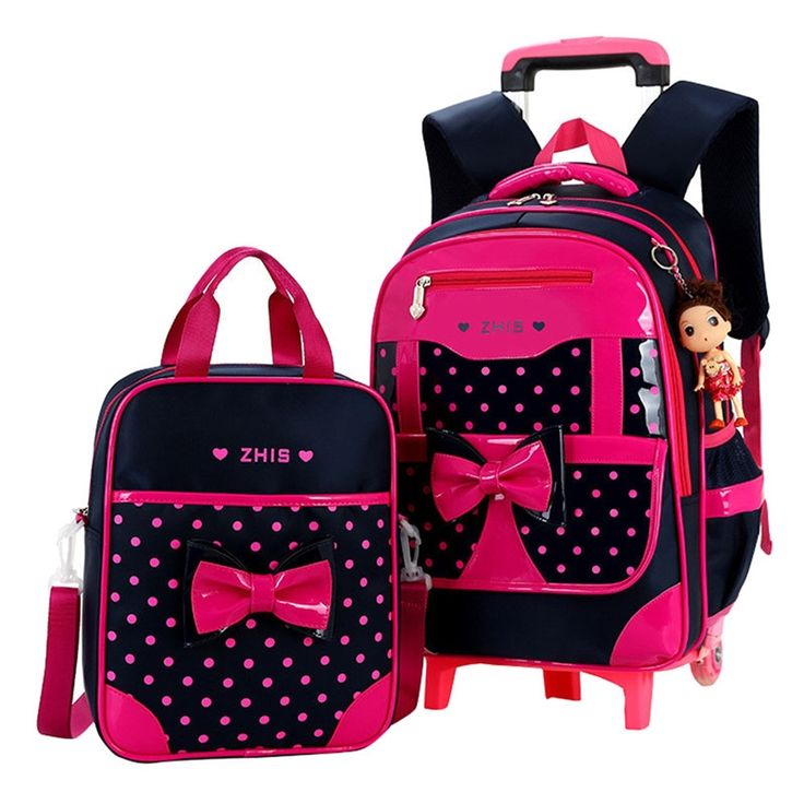 48.00$  Watch now - http://ali64j.shopchina.info/1/go.php?t=32732239775 - Children school bags for Girls Bow Cute Detachable Trolley Backpack Kids travel luggage book bag Schoolbag Mochilas Escolares  #buyininternet