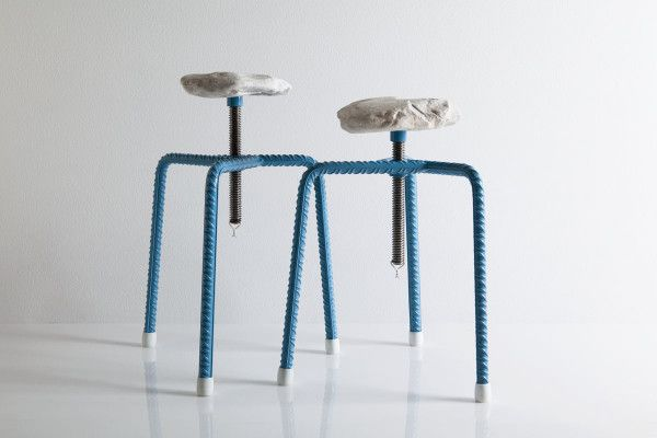 The stool, by Greece is For Lovers, is made of everyday items found in Greece, thereby embodying the very nature of the city