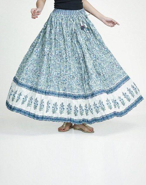 Cotton Printed Ghera Elasticated Crinkle Skirt