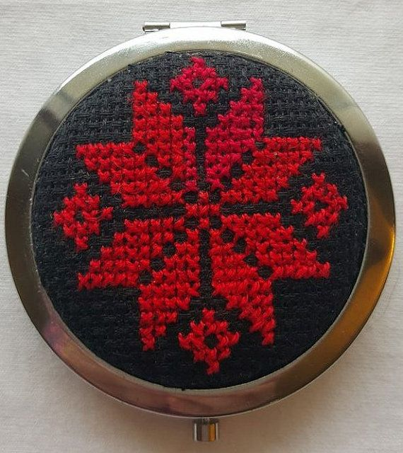 Handmade Palestinian Embroidery Compact by MediterraneanCharm                                                                                                                                                     More