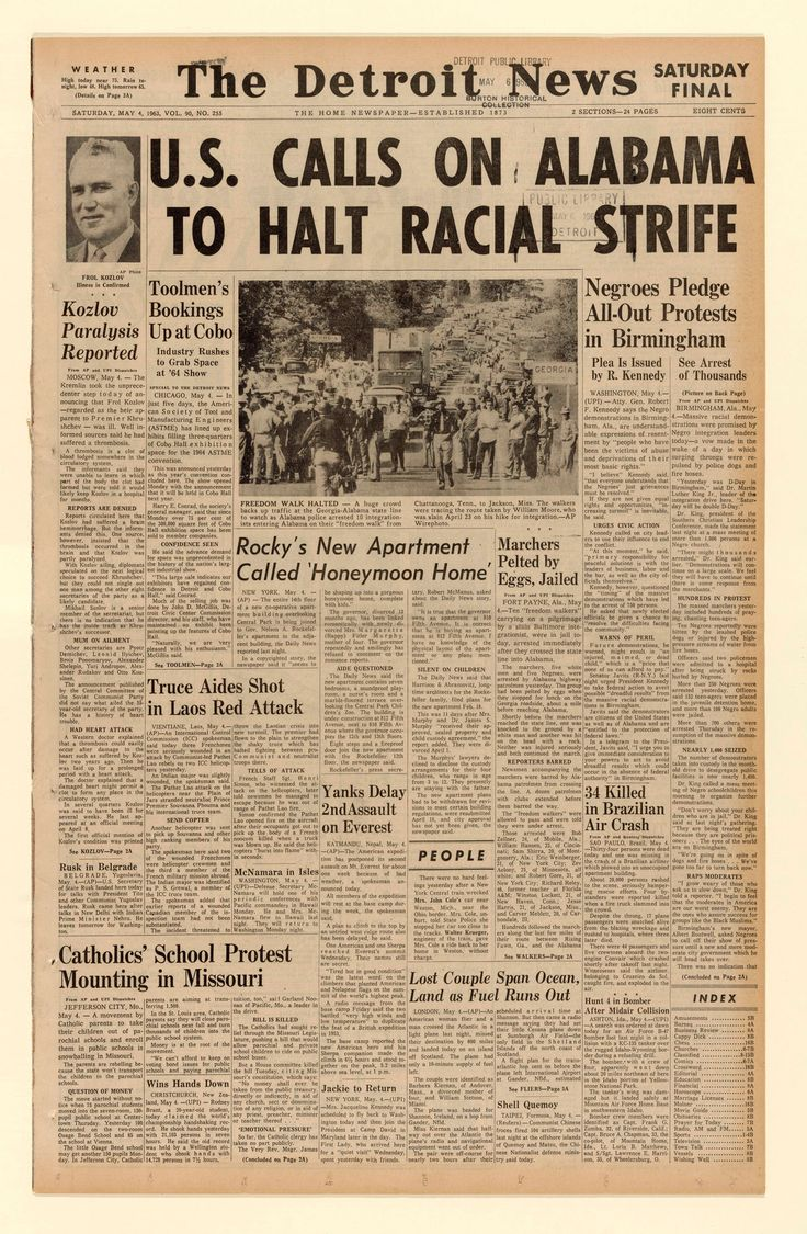 The front page of The Detroit News on May 4, 1963, features news of the Birmingham Campaign, a movement to protest racial segregation in the very divided city.