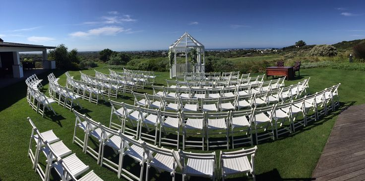 Ceremony set-up on our lawn with a view of the sea and St Francis Bay.
