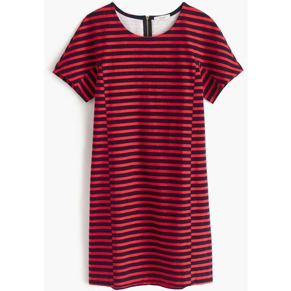 J.Crew Striped T-Shirt Dress ($120) ❤ liked on Polyvore featuring dresses, striped t-shirt dresses, j crew dresses, tee dress, open back dress and stripe t shirt dress