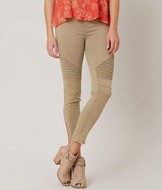 Khaki Moto Leggings With Ankle Zip Detail