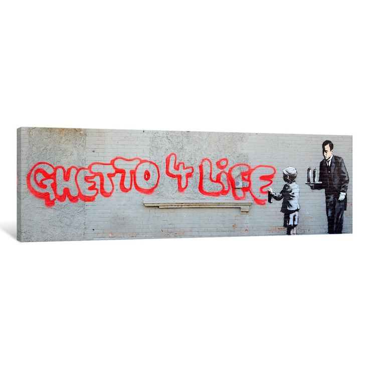 iCanvas 'Ghetto 4 Life' by Banksy Canvas Print