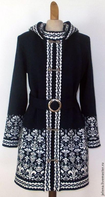 Купить пальто вязаное с капюшоном - разноцветный, пальто женское, пальто из шерсти, пальто демисезонное