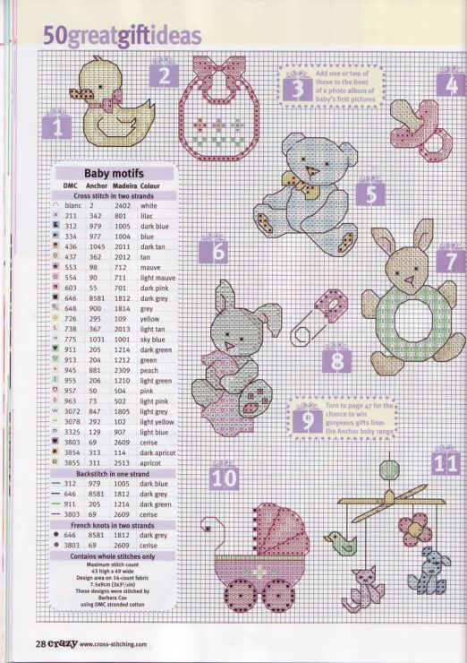 baby small cross stitch chart free