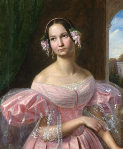 Portrait of Helene of Mecklenburg-Schwerin as a bride (1814-1858), duchess of Orléans by her marriage with prince Ferdinand Phillipe | Gaston Camillo Lenthe (1830s)