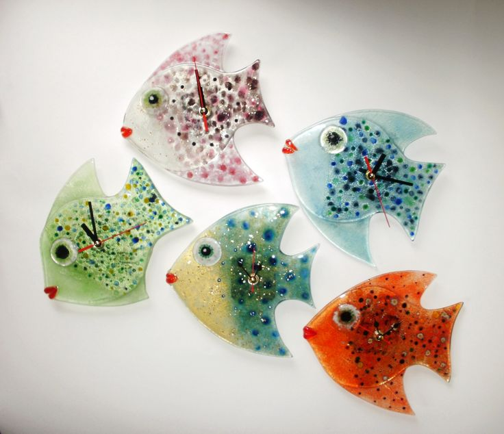 Fish Wall Clock, fused glass | horloge fusing